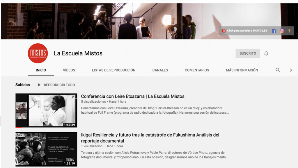 En nuestro canal de youtube dispones de todas las conferencias sobre fotografía online emitidos